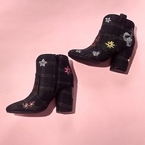 Embroidered heeled ankle boots